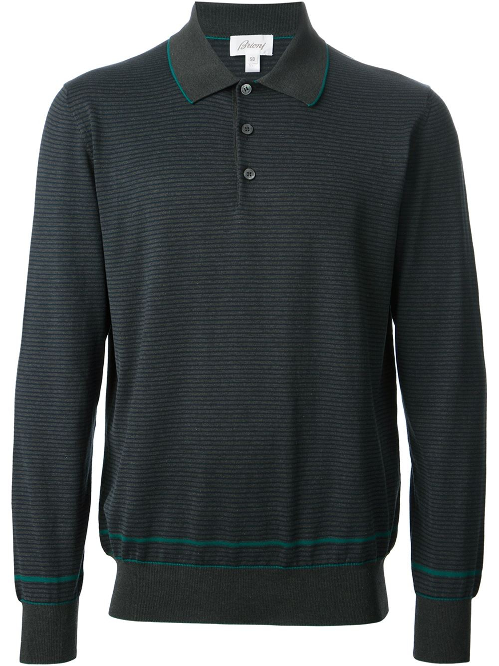 Lyst brioni striped polo t shirt in gray for men Grey striped t shirt
