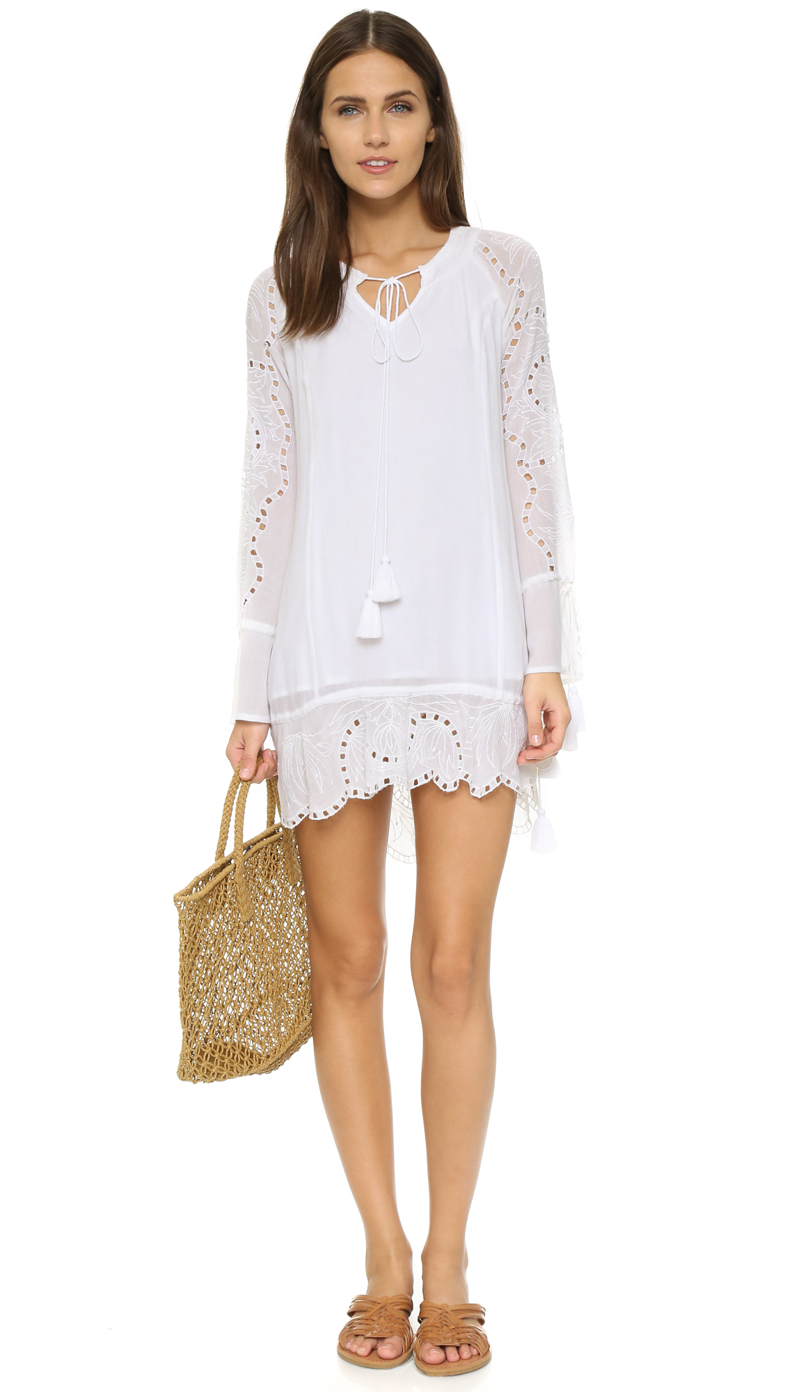 Lyst - Rahicali Long Sleeve Mini Dress in White