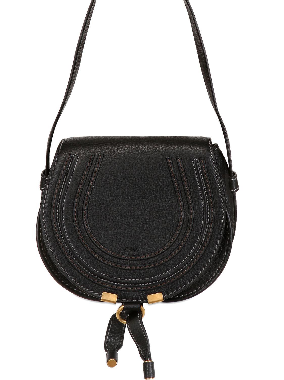 Chlo�� Small Marcie Leather Crossbody Bag in Black | Lyst