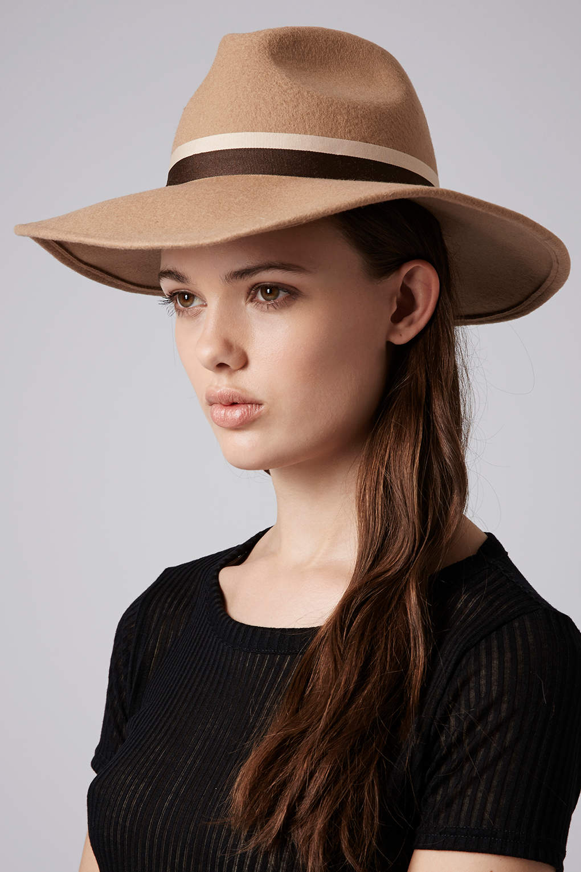 Lyst - TOPSHOP Womens Wide Brim Fedora Hat Camel in Natural b8f20b00aff