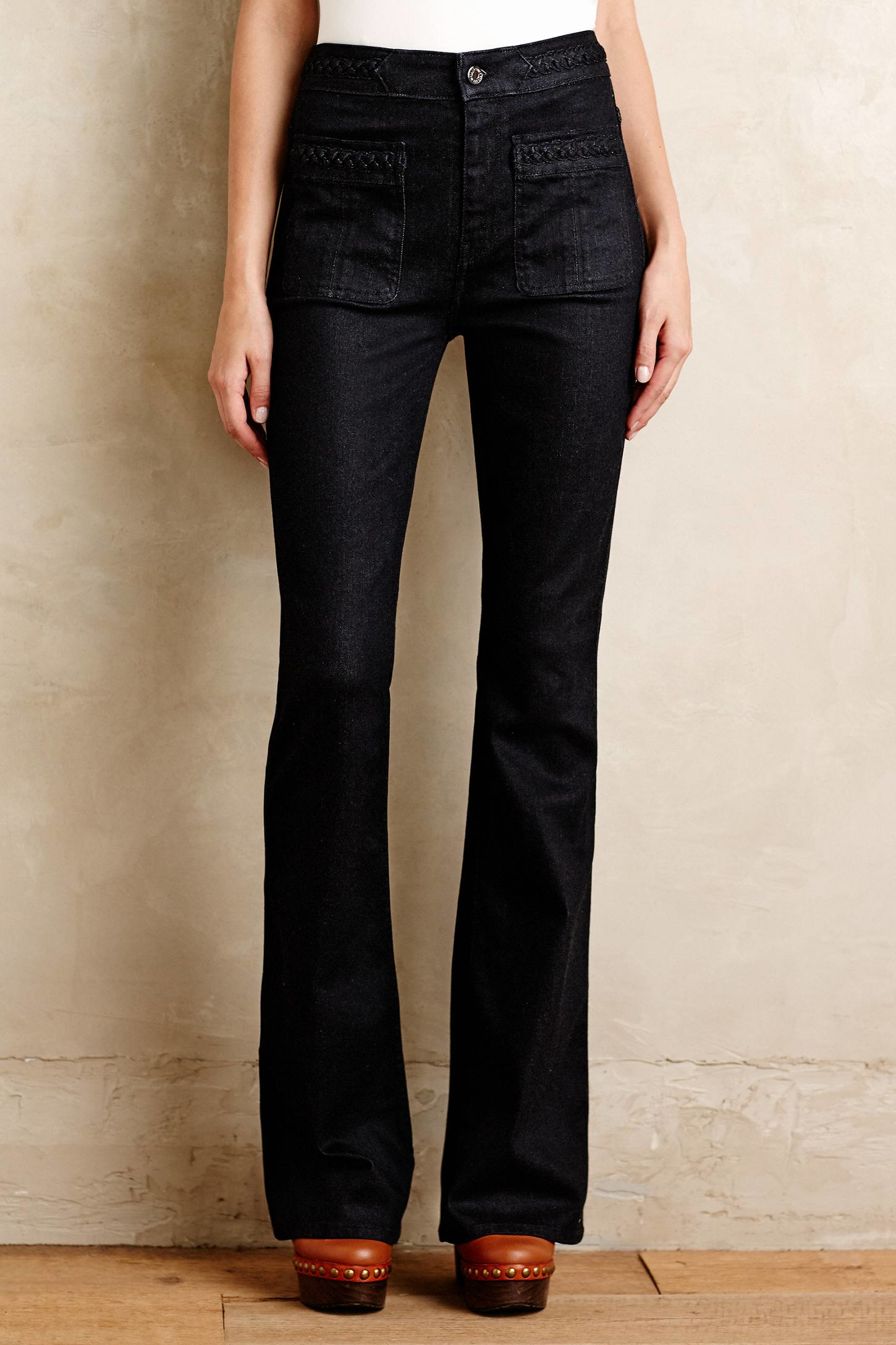 7 for all mankind Braided High-rise Flare Jeans in Black | Lyst