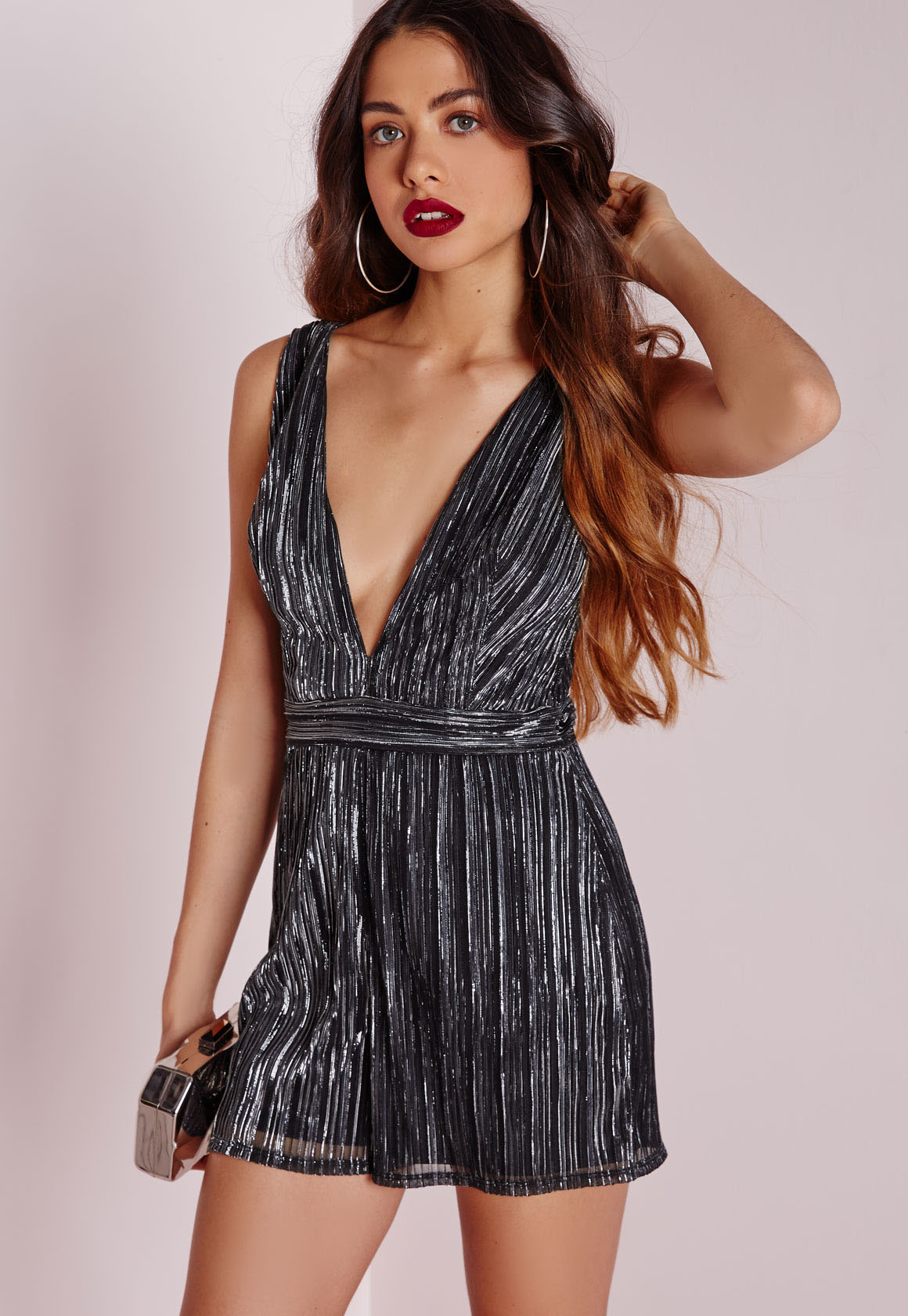 402854e140c Lyst - Missguided Metallic Pleat Playsuit Silver in Metallic