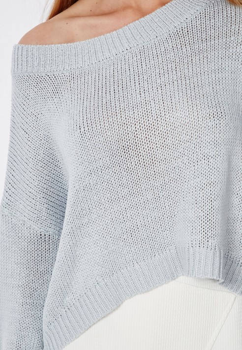 Missguided Slouch Off Shoulder Knitted Crop Sweater Pale Blue in ...