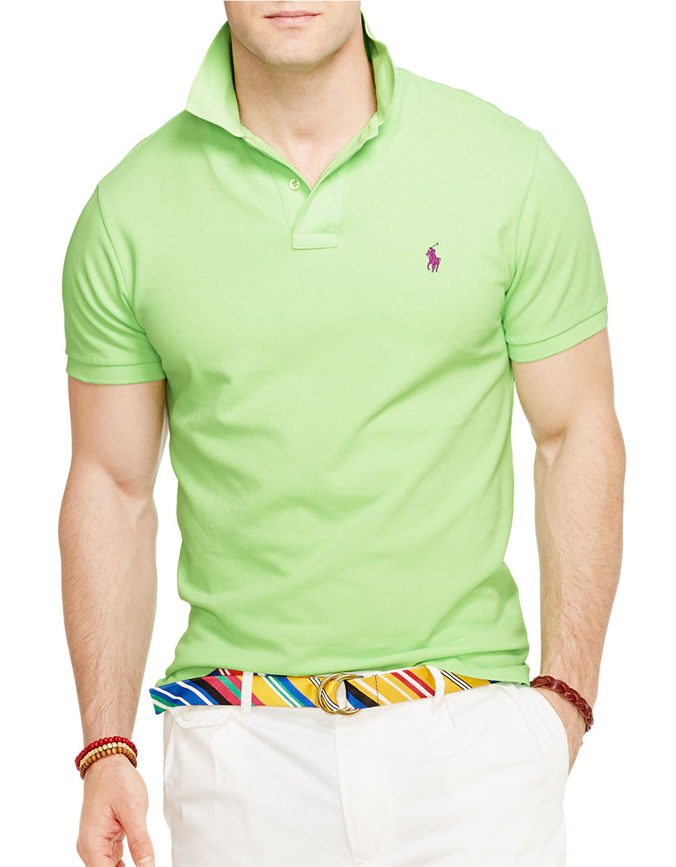 Polo ralph lauren classic fit mesh polo shirt in green for for Mens lime green polo shirt