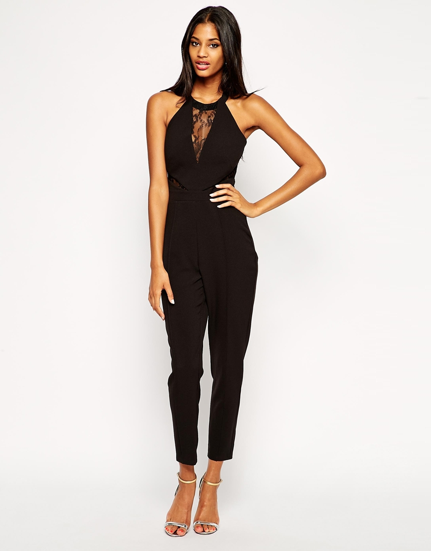 fb85a98a0a Lyst - Lipsy Michelle Keegan Loves Jumpsuit With Lace Halterneck in ...