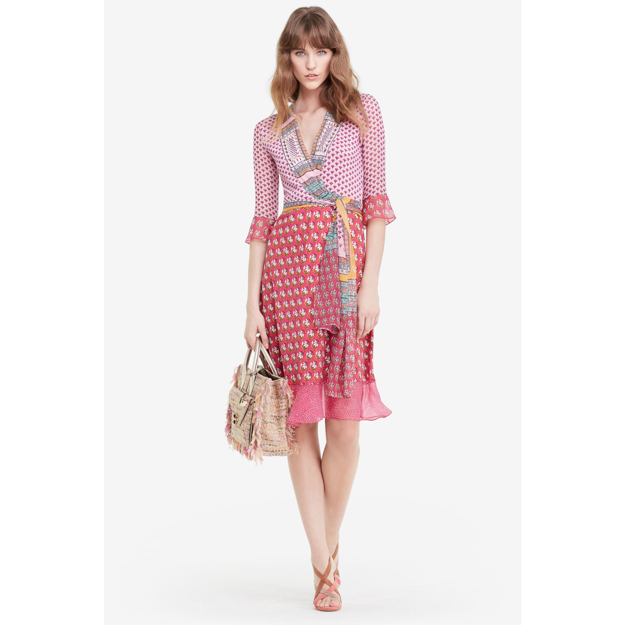 Diane von furstenberg multi print wrap dress in pink lyst for Diane von furstenberg clothes