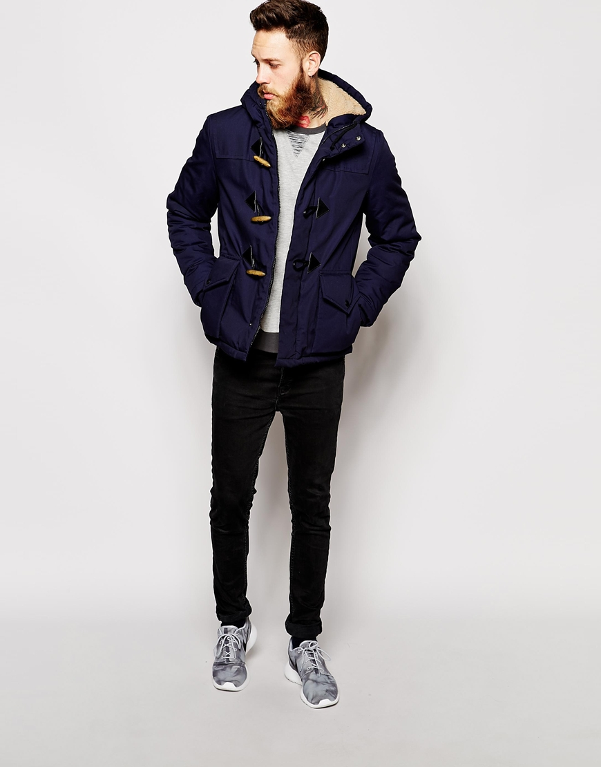 Asos Parka Jacket With Duffle Fastenings in Blue for Men | Lyst