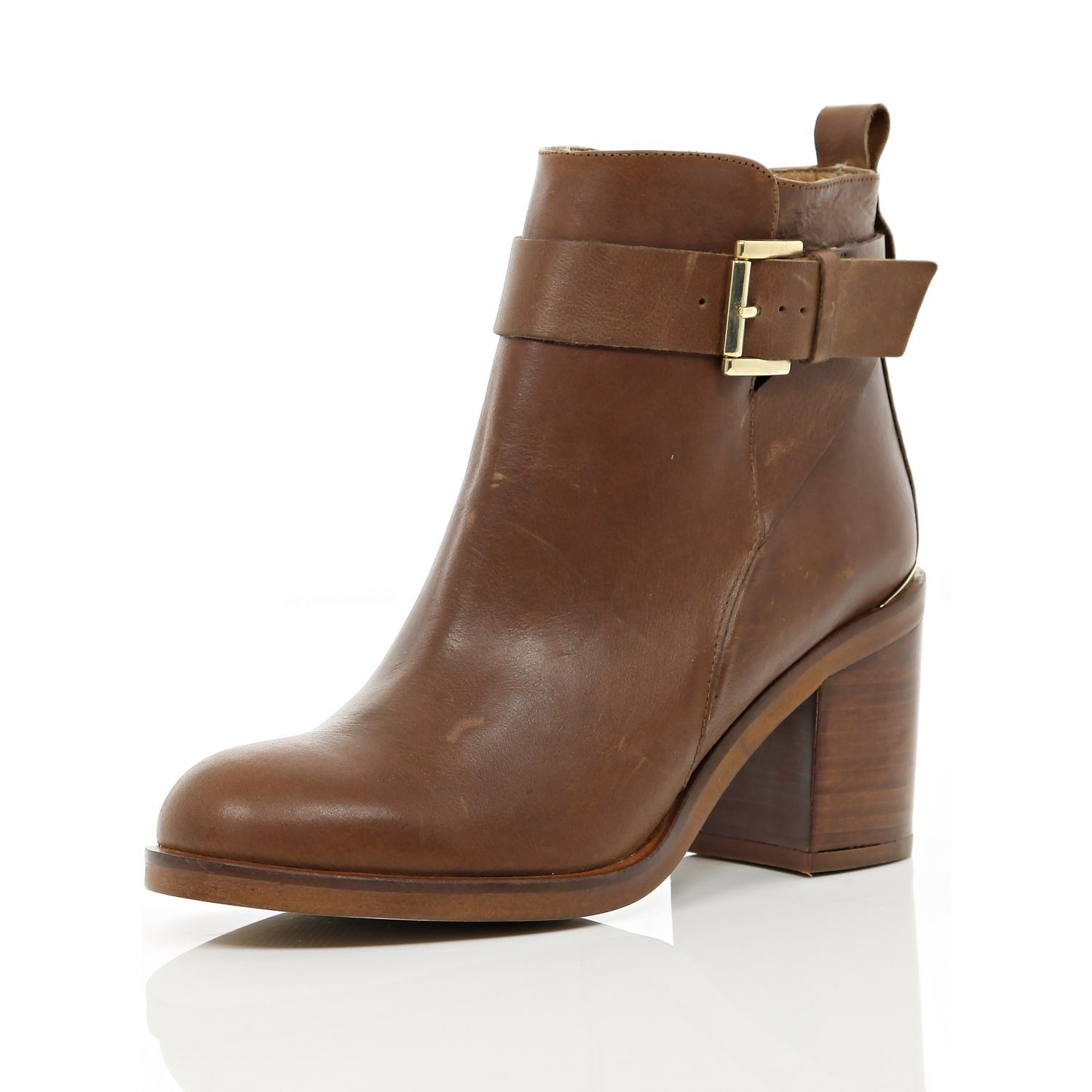 river island brown block heel ankle boots in brown lyst