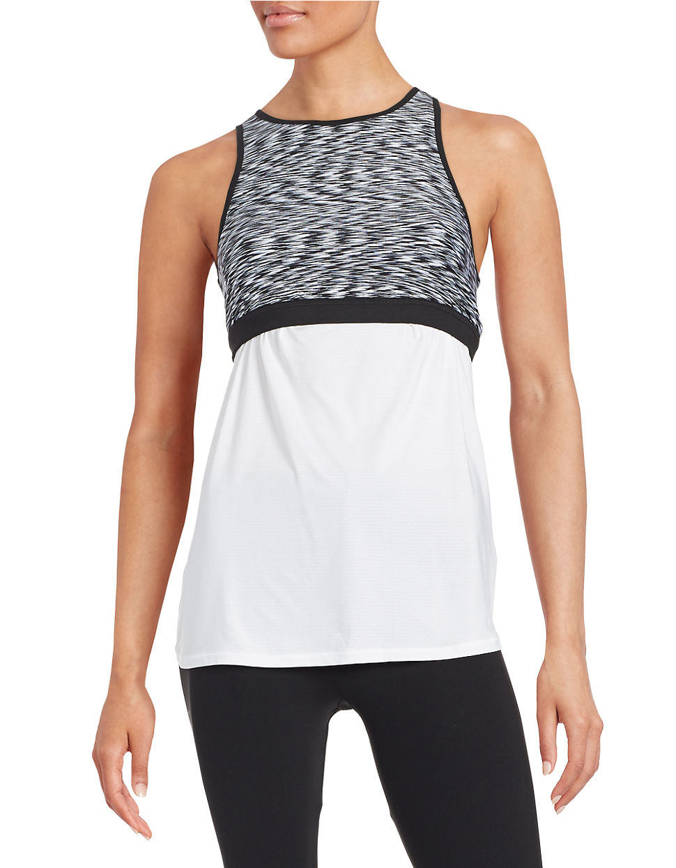calvin klein two piece sports bra and tank top in white lyst. Black Bedroom Furniture Sets. Home Design Ideas