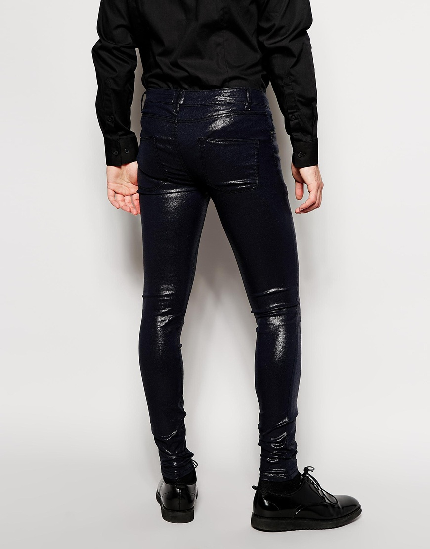 Asos Extreme Super Skinny Jeans With Shiny Coating in Blue for Men ...