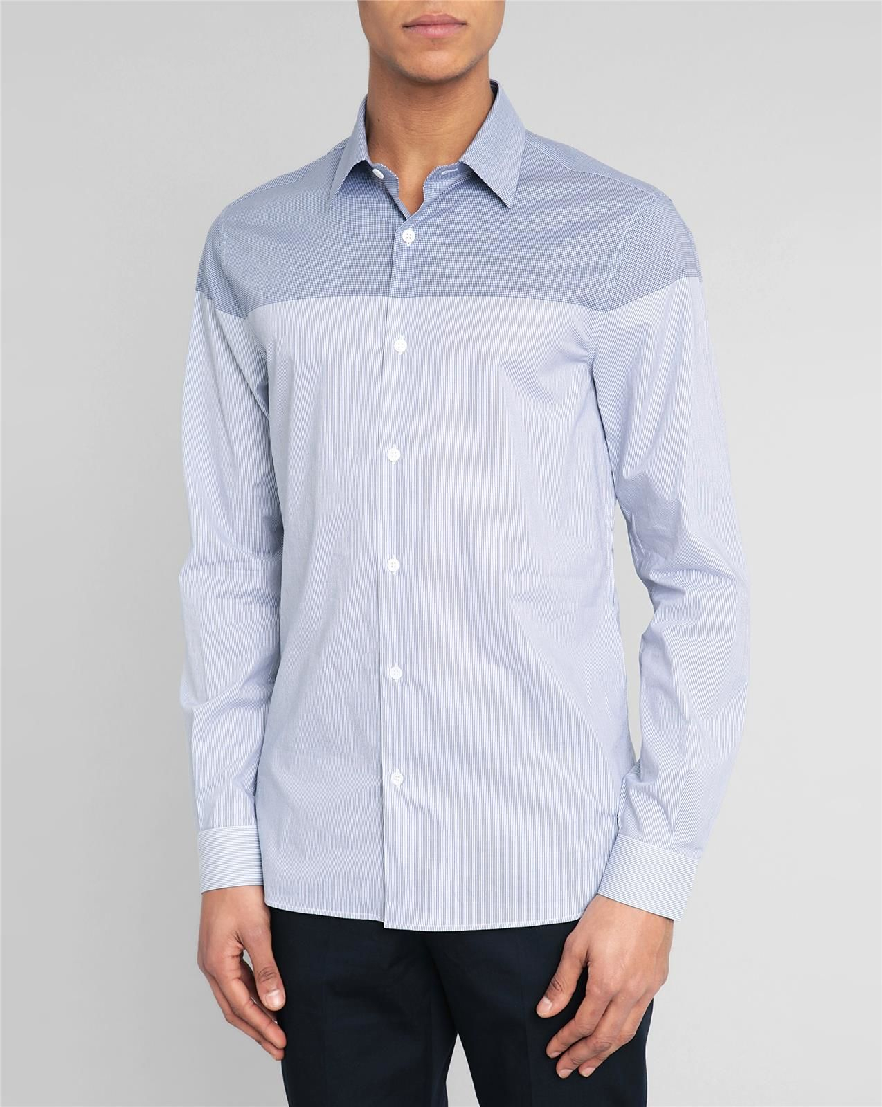 Melindagloss Navy Gingham Classic Collar Shirt In Blue For