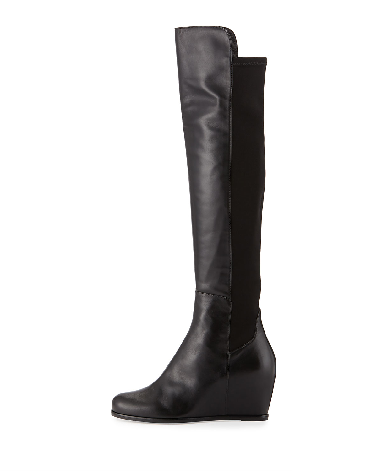 Black Over The Knee Wedge Boots - Yu Boots