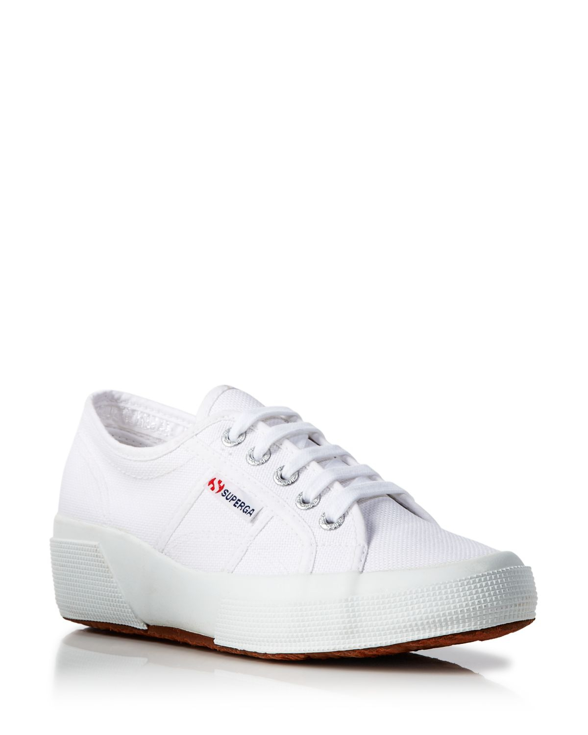 a6a938734ec Lyst - Superga Lace Up Sneakers - Hidden Wedge Heel in White