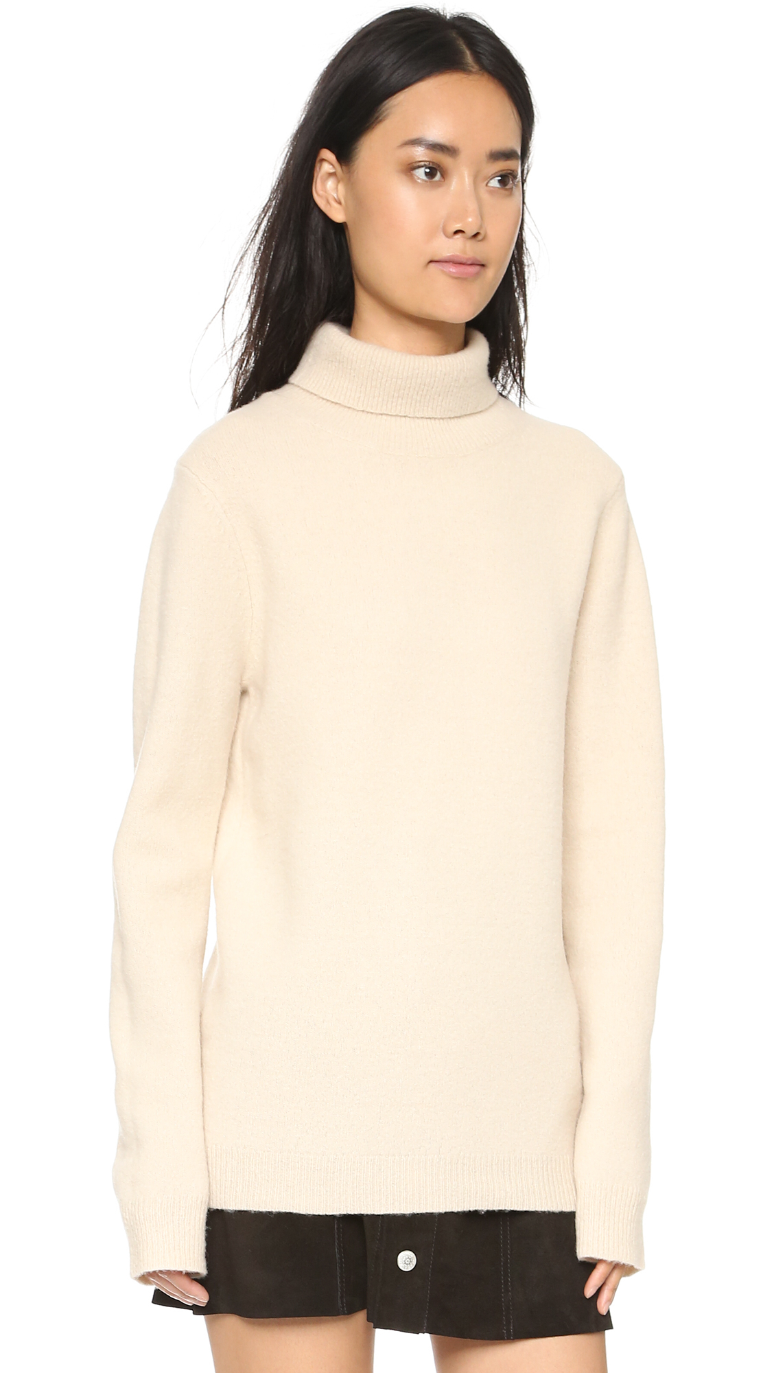 Dkny Long Sleeve Turtleneck Sweater - Buff in Natural | Lyst