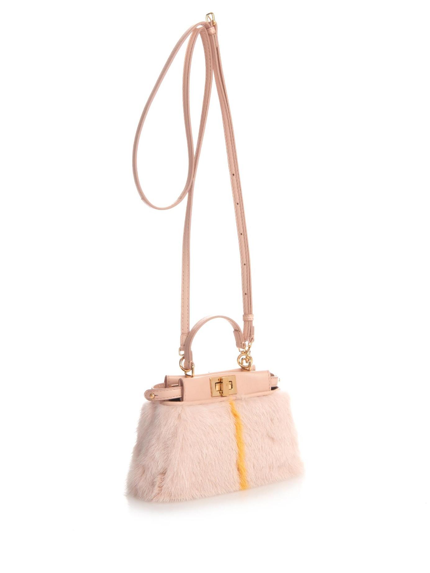 66345eb7f6ec Lyst - Fendi Micro Peekaboo Mink-Fur Cross-Body Bag in Pink