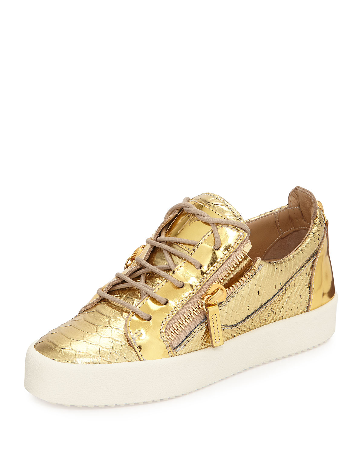 giuseppe zanotti snake embossed metallic sneaker in gold snake lyst. Black Bedroom Furniture Sets. Home Design Ideas