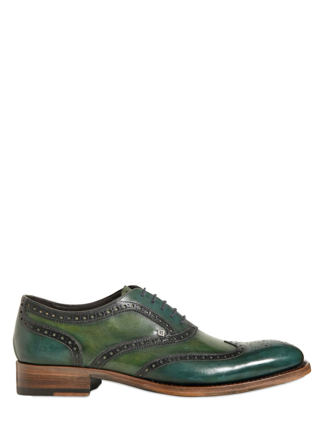 Lyst - Harris Leather Two Tone Brogued Oxford Shoes In Green For Men