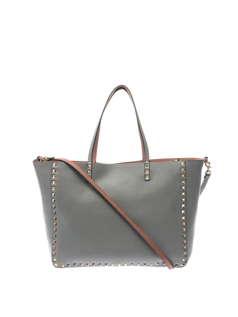 27c32bfb1b Valentino Rockstud Double Reversible Tote in Gray - Lyst
