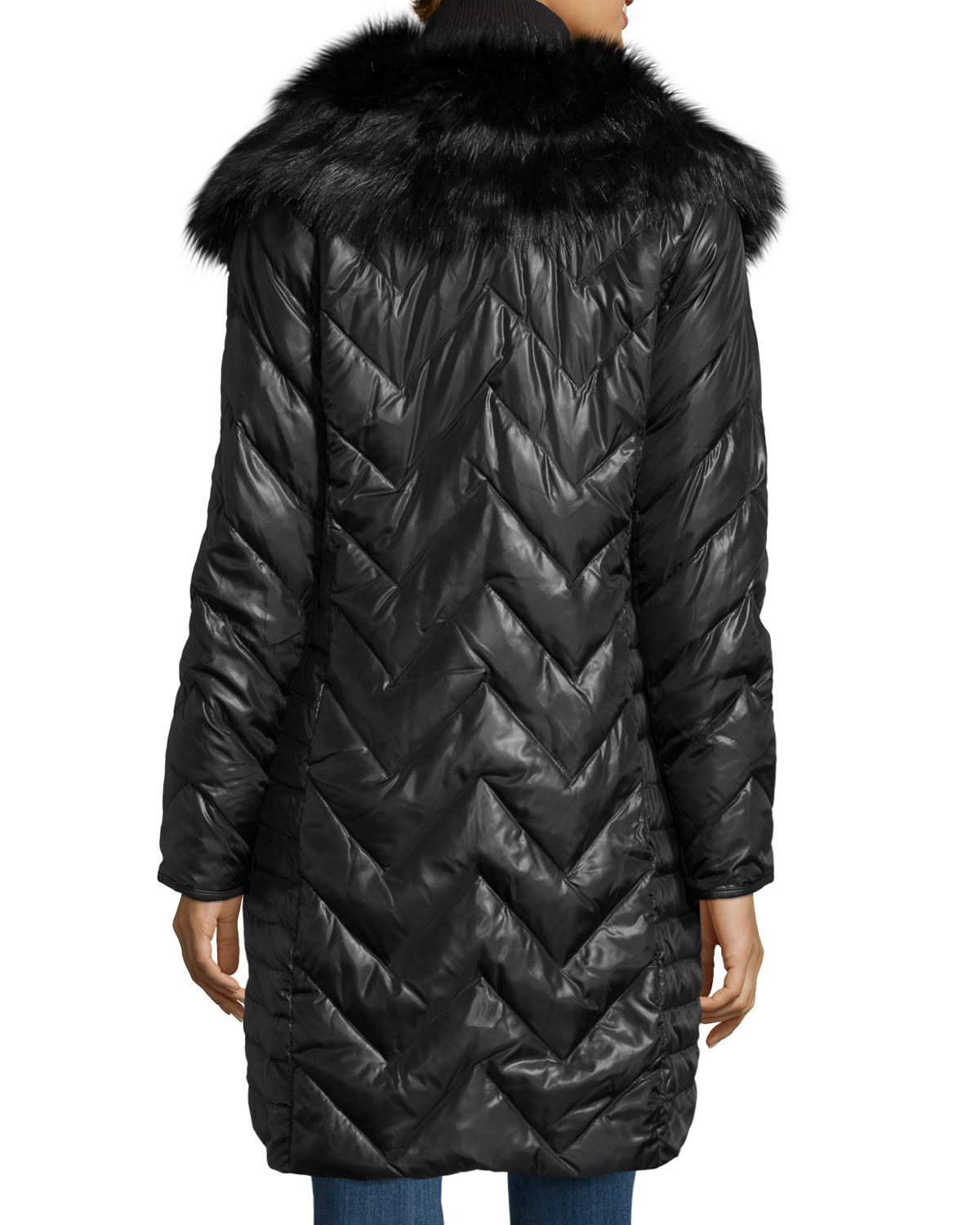 Via Spiga Long Chevron Quilted Puffer Coat W Faux Fur