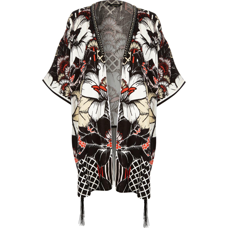6698b5403 River Island Black Floral Print Tie Front Kimono Jacket in Black - Lyst