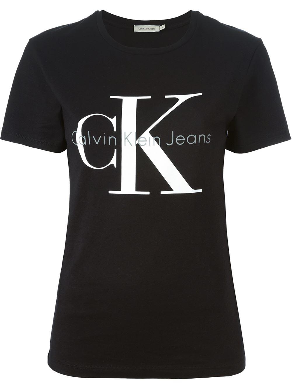 Calvin klein jeans logo in black lyst for Print logo on shirt