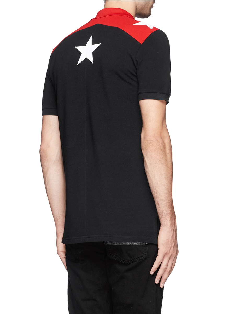 9cb7b870b240c Givenchy Star Appliqué Polo Shirt