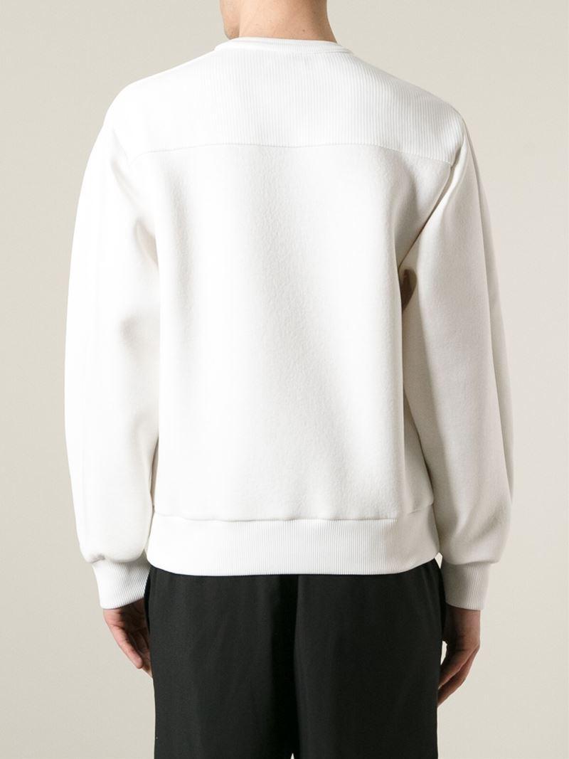 lyst juunj plain and ribbed sweatshirt in white for men