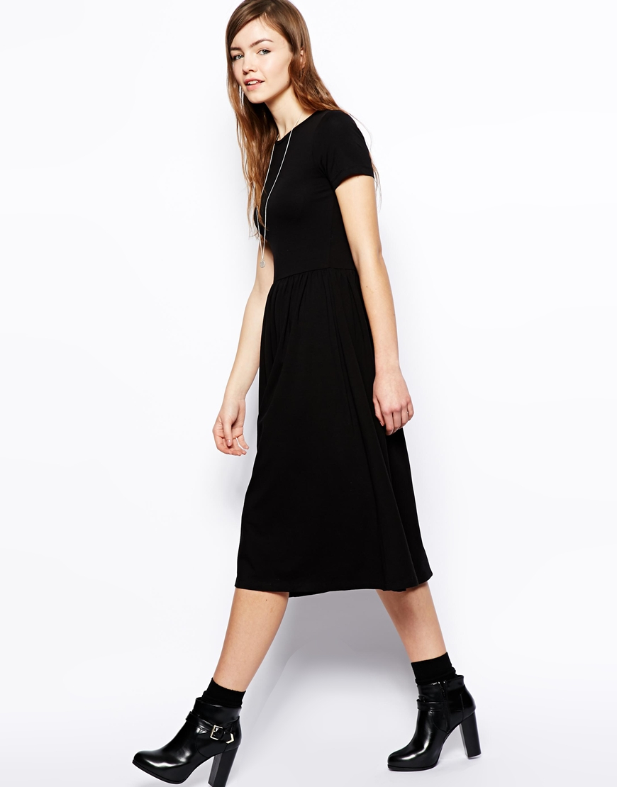 a113dd1907c7 ASOS Midi Skater Dress With Short Sleeves in Black - Lyst