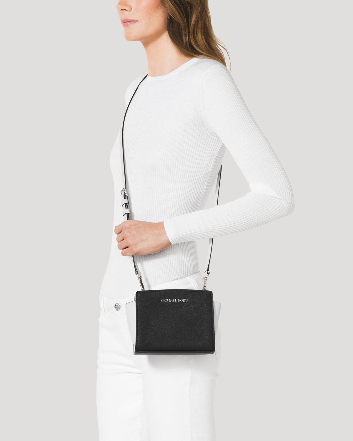 Lyst - MICHAEL Michael Kors Mini Selma Colorblock Crossbody ... a3491b649ec22