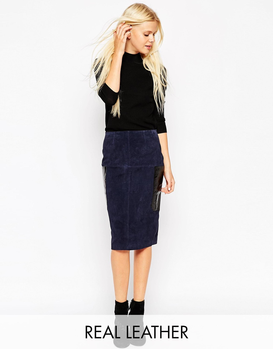 Asos Suede Pencil Skirt With Patent Leather Pockets in Blue | Lyst