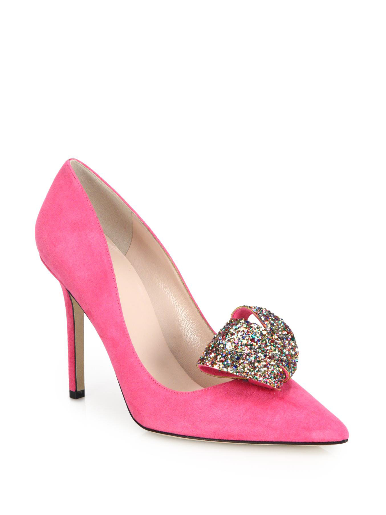 45398739a0 Kate Spade Louisa Glitter Bow Suede Pumps in Pink - Lyst