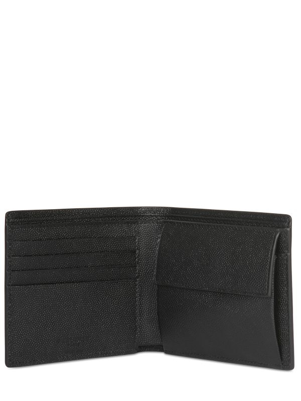 61444151304 Saint Laurent Dusted Leather Wallet W/ Coin Pocket in Black for Men ...
