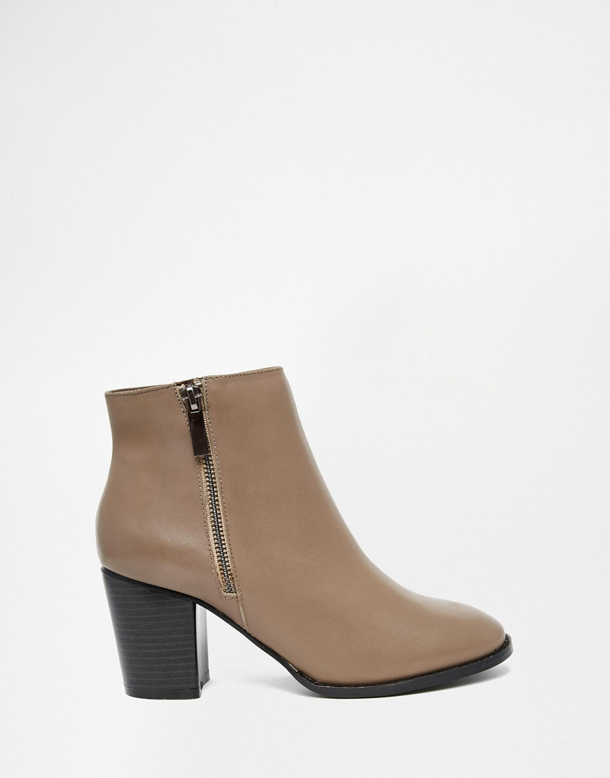 faith sandi taupe leather zip heeled boots in brown lyst