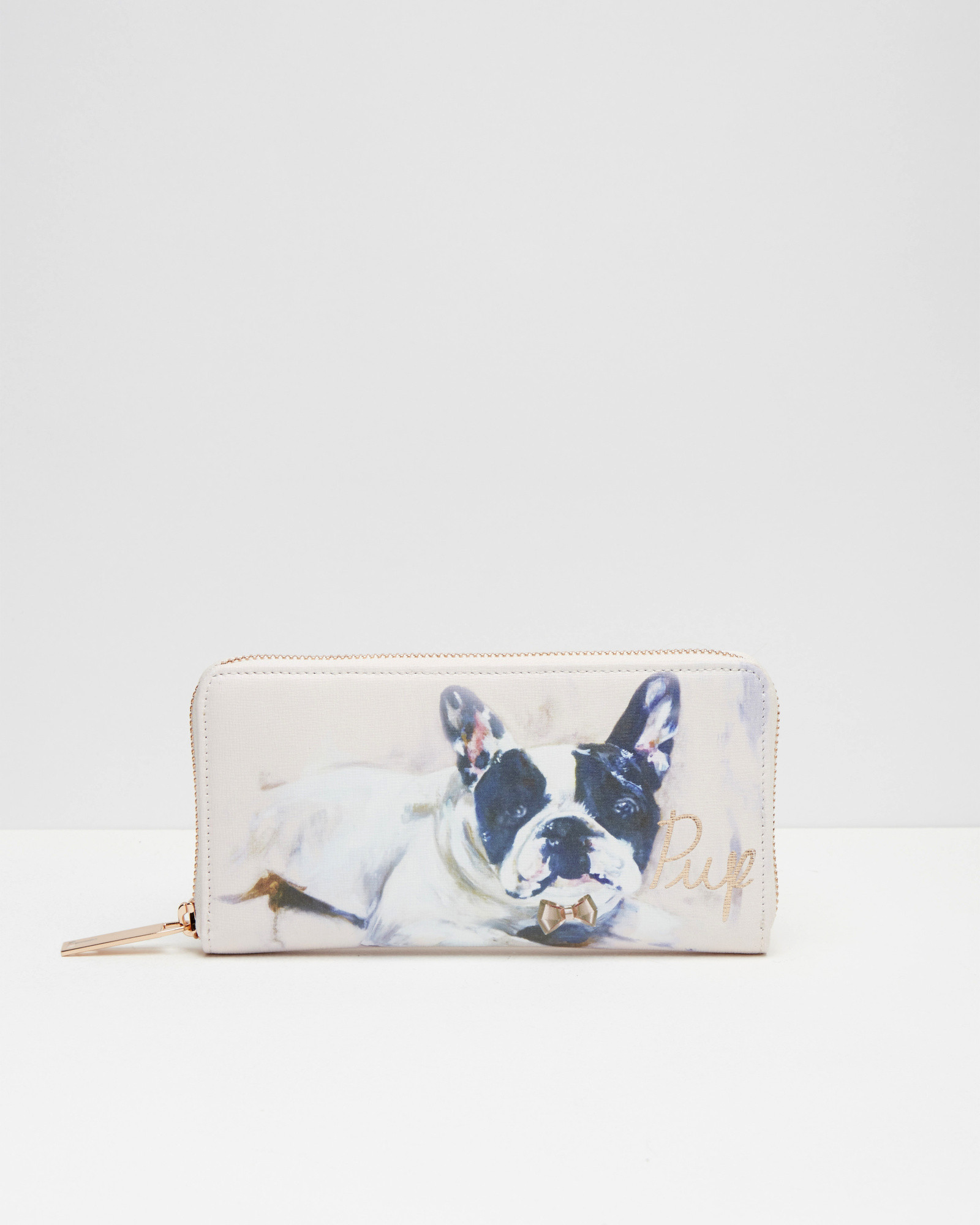 bffb4ac7084379 Ted Baker French Bulldog Painted Leather Matinee Purse in Natural - Lyst
