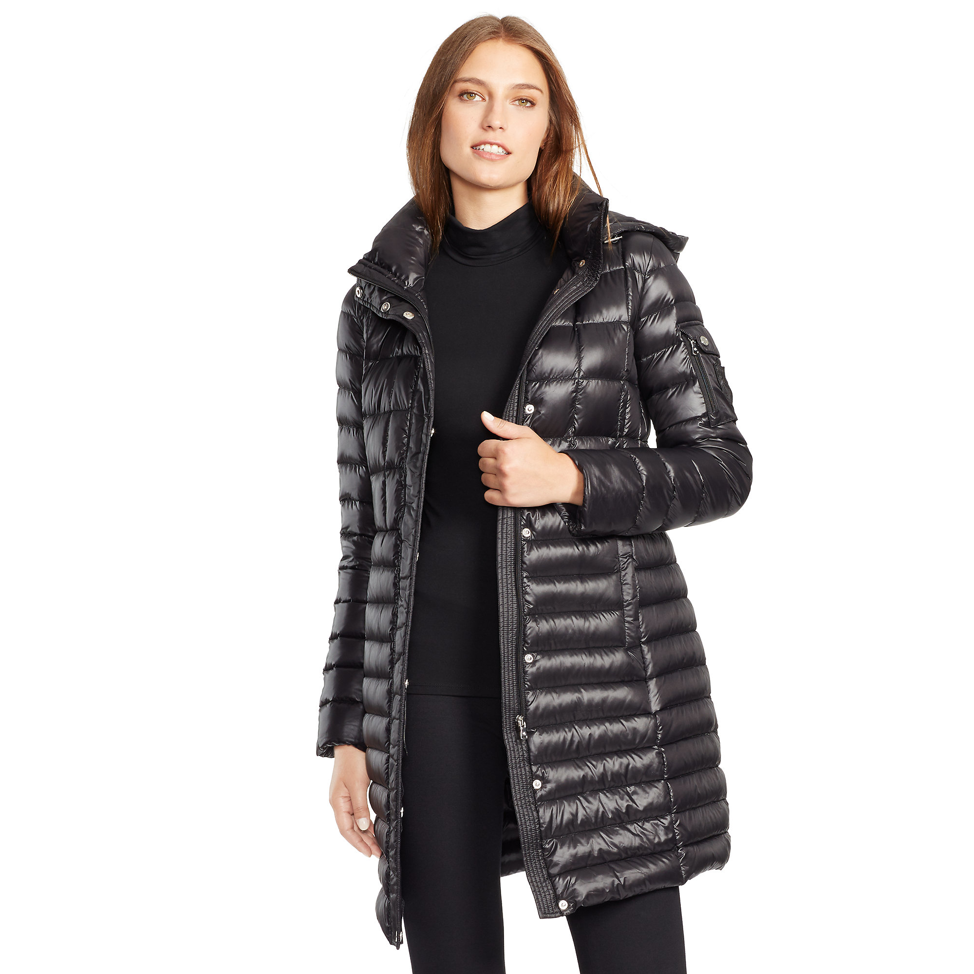 packable down hooded coat by ralph lauren .