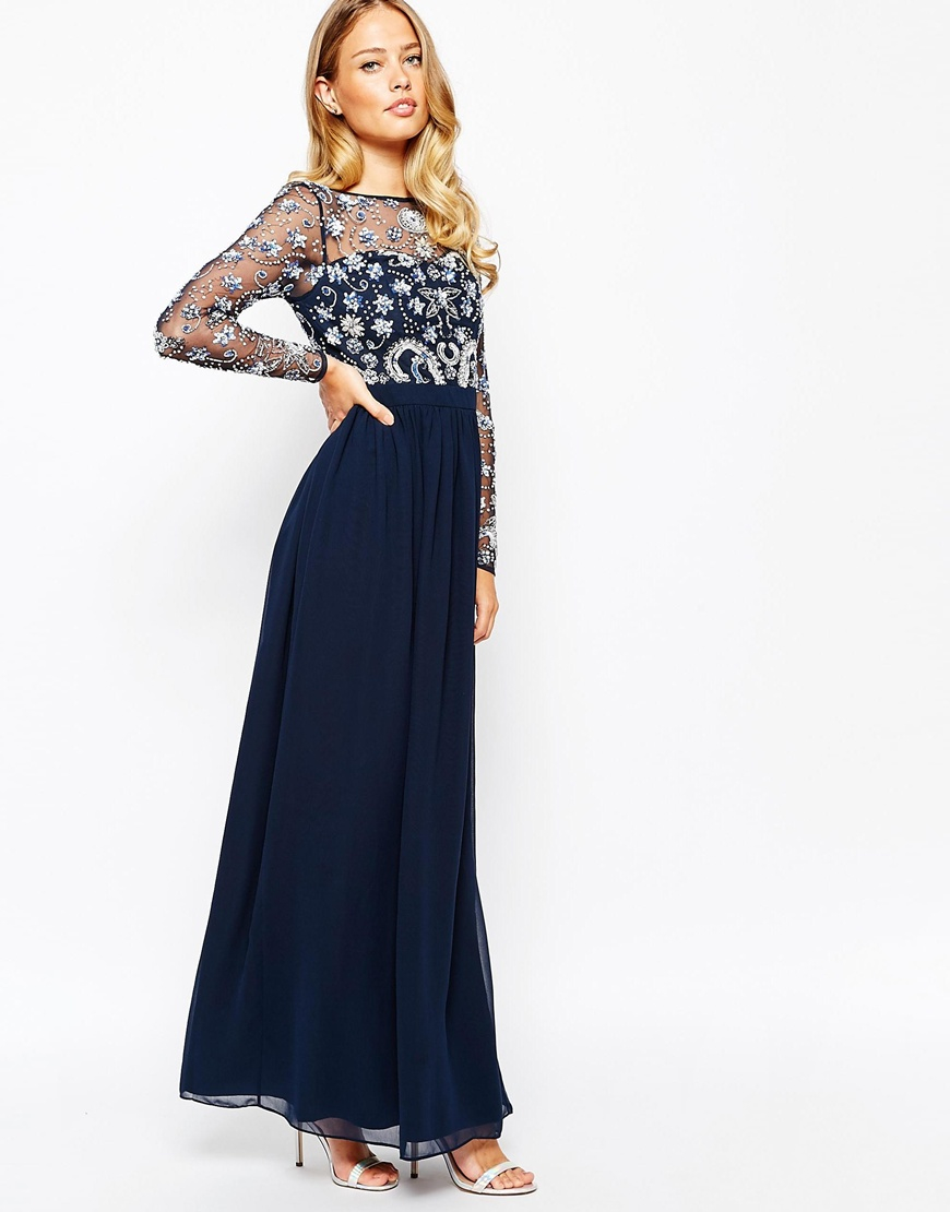 bc4b539e54a Frock and Frill Heavily Embellished Maxi Dress With Long Sleeves in ...