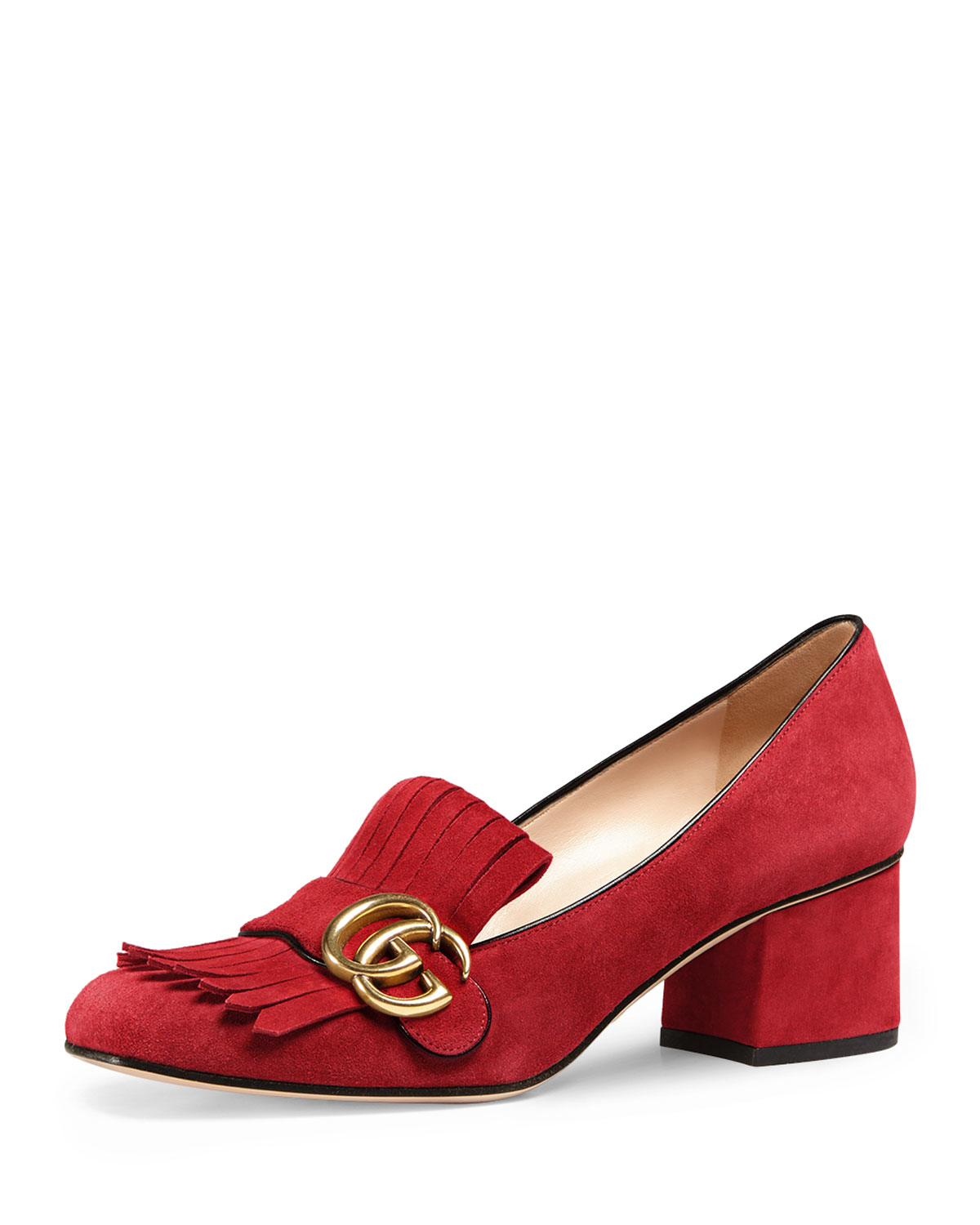 2a7ffb588b0 Lyst - Gucci Marmont Suede Loafers in Red