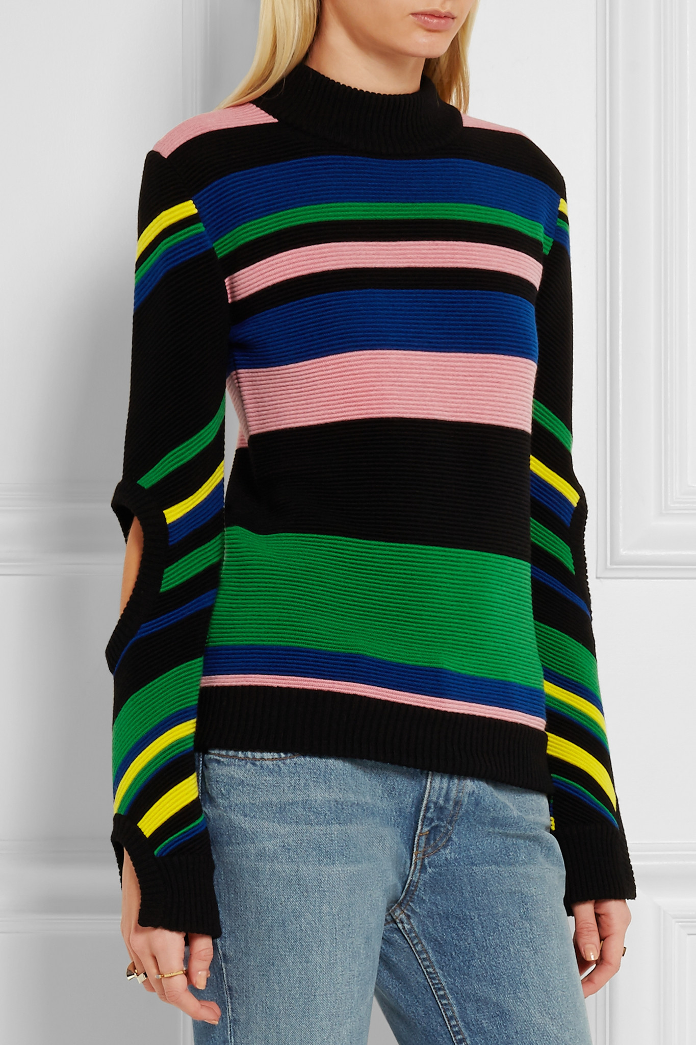 J.w.anderson - Striped Ribbed Merino Wool Turtleneck Sweater ...