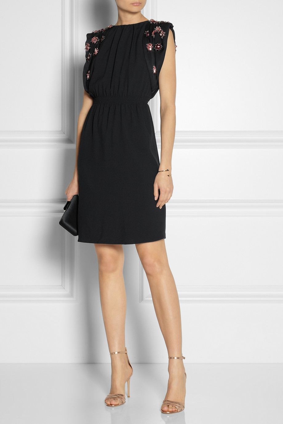 Open-back Cady Mini Dress - Black Miu Miu UejM8s8