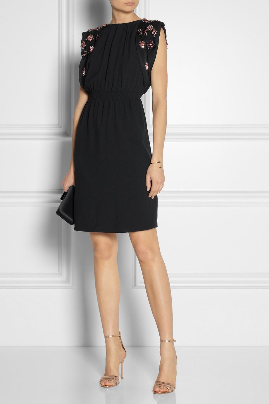 Lyst Miu Miu Embellished Open Back Crepe Dress In Black