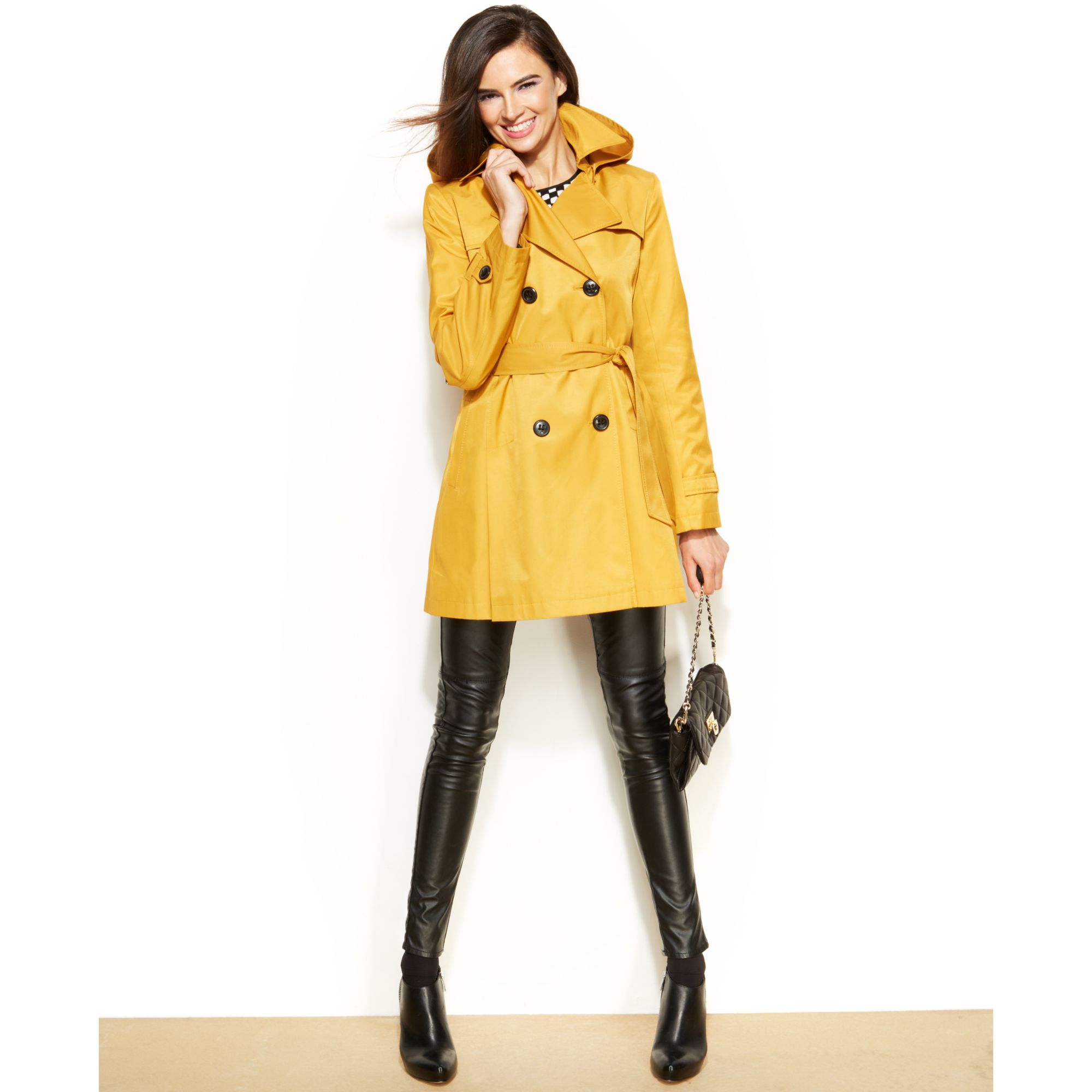 Dkny Petite Hooded Trench Raincoat In Yellow Taxi Lyst
