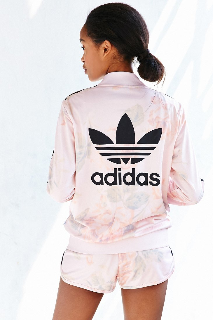 Adidas originals pastel rose track jacket in natural lyst for Adidas floral shirt urban outfitters