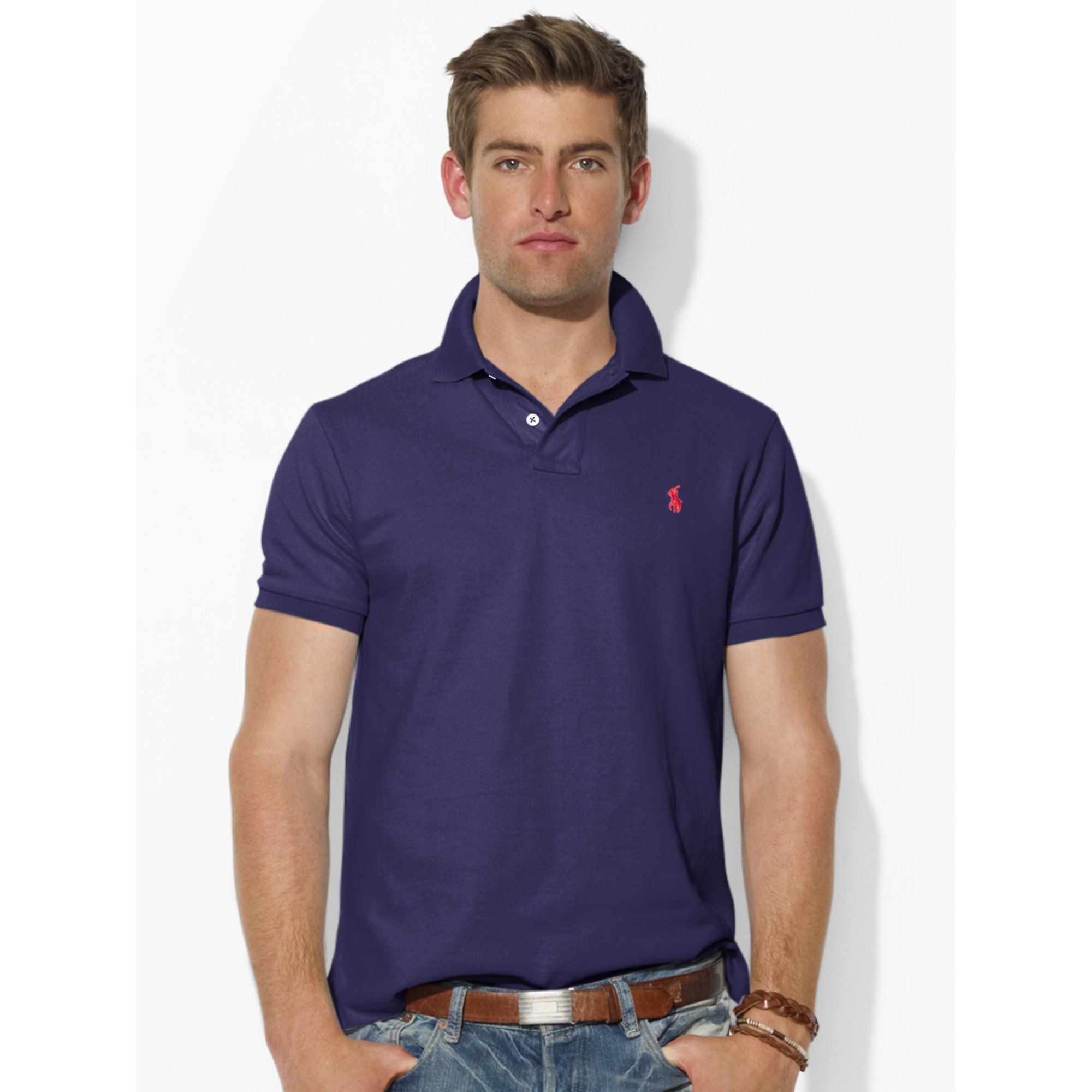 896369462 Polo Ralph Lauren Custom-fit Mesh Polo Shirt in Blue for Men - Lyst