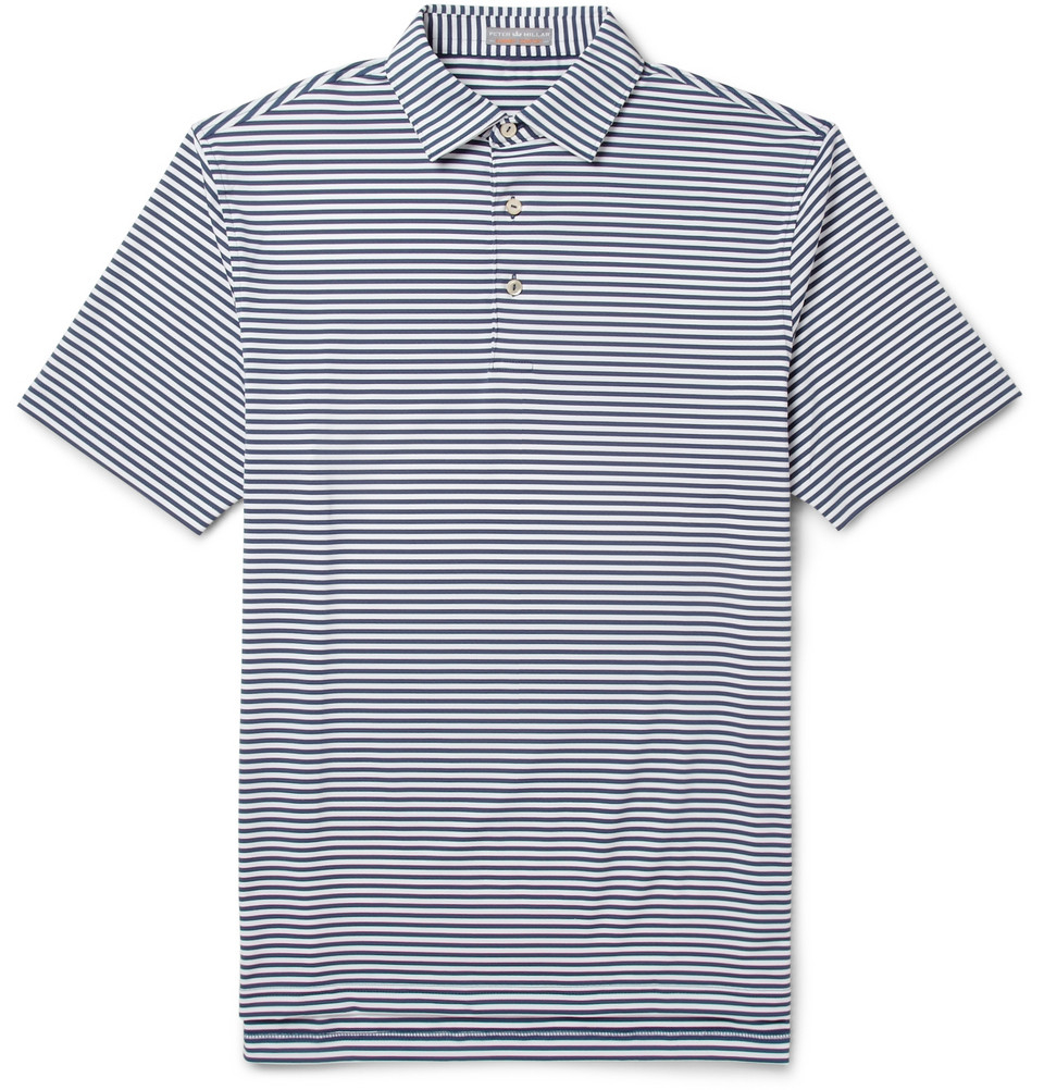 Peter millar competition striped jersey golf polo shirt in for Peter millar women s golf shirts