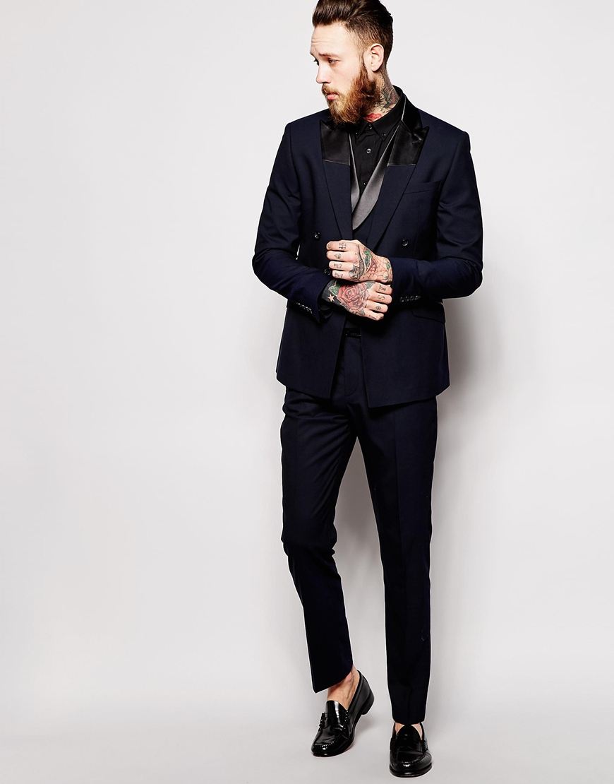 Asos Slim Fit Double Breasted Tuxedo Jacket in Blue for Men | Lyst