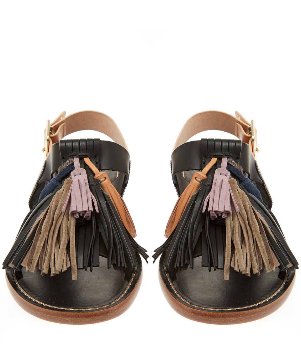 9fb4ccfea1c2 Lyst isabel marant black clay tassel leather sandals in black jpg 960x1153 Isabel  marant sandals