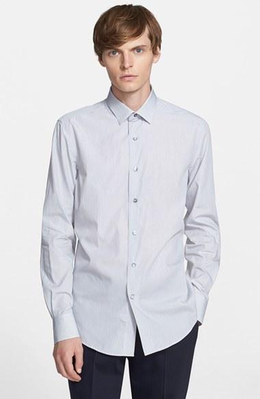Lanvin extra trim fit microstripe dress shirt in black for for Extra trim fit dress shirt