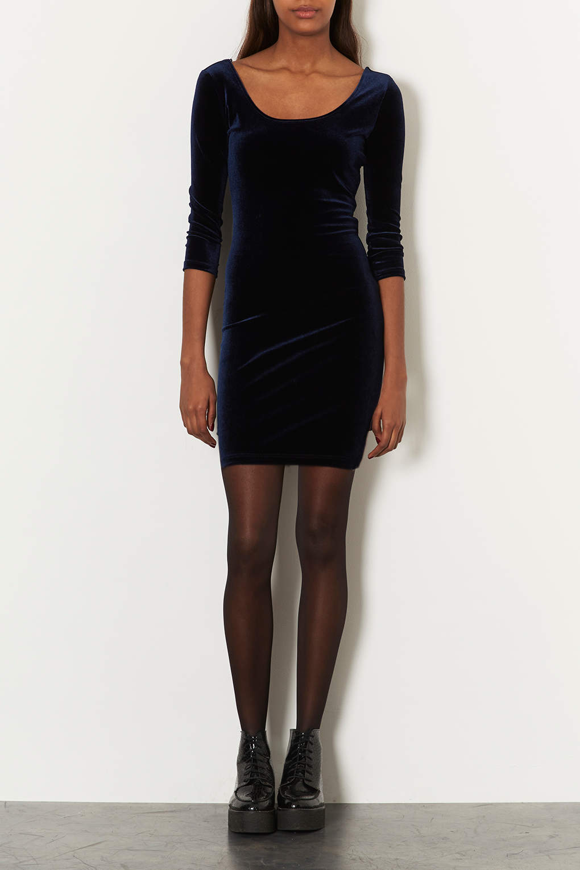 Lyst Topshop Velvet Scoop Back Bodycon Dress In Black