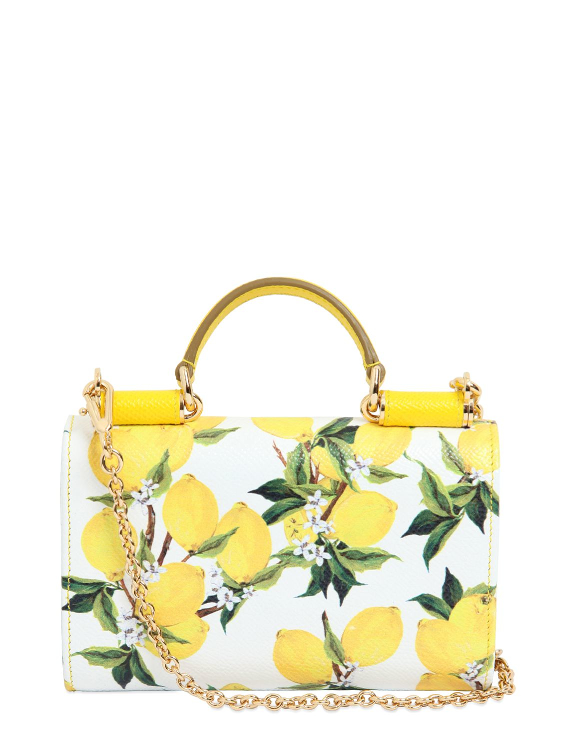 Lyst - Dolce   Gabbana Lemons Printed Leather Phone Clutch in Yellow 5d7bc3a415eaa