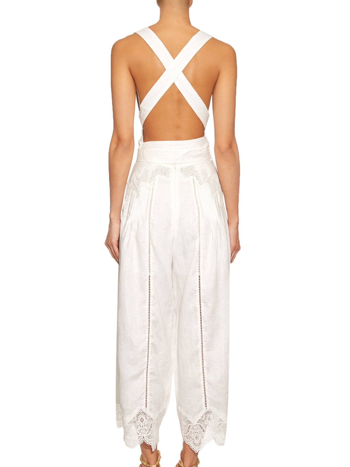 ba8f8f6c0e5 Lyst - Zimmermann Empire Lace-insert Jumpsuit in White